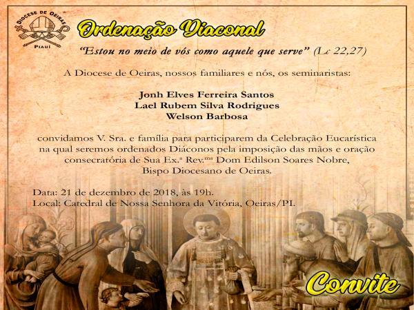 Acontece nesta sexta-feira na Igreja Catedral de Oeiras, a ordenação de três diáconos para a Diocese de Oeiras