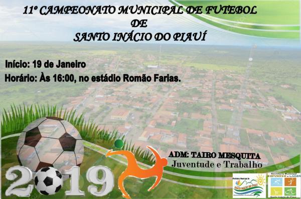 Campeonato municipal de futebol terá início dia 19 em Santo Inácio